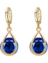 Shining Diva Fashion Jewellery Crystal Blue Stylish Fancy Party Wear Studs Traditional Earrings For Women & Girls