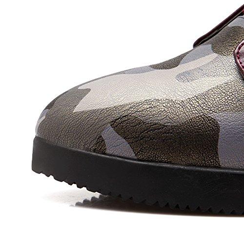 AllhqFashion Damen Schnüren Mittler Absatz Pu Leder Gemischte Farbe Mitte-Spitze Stiefel Weinrot