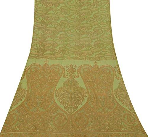 Indian Vintage-Blumenmuster Grün Crepe Seide Saree Stoff Craft Sari 5YD -