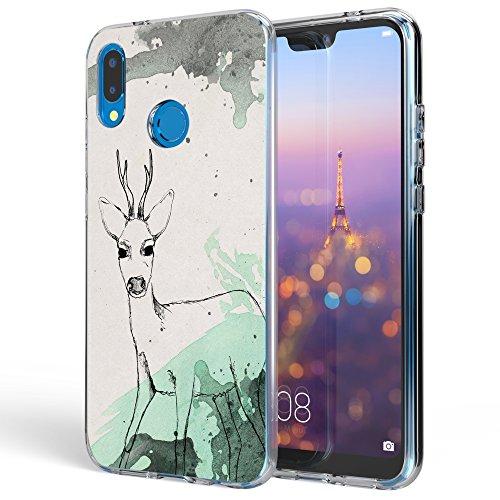 NALIA Handyhülle kompatibel mit Huawei P20 Lite, Slim Silikon Motiv Case Back-Cover Crystal Schutzhülle Dünn Durchsichtig, Etui Handy-Tasche Transparent Bumper, Designs:Deer Rosa Crystal Hard Case Cover