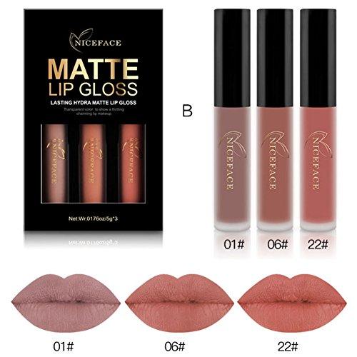 ROPALIA 3 Farben Matt Lipgloss Set Farbecht Wasserdicht Farbecht Lipstick Lippenstift