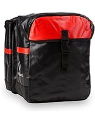Yukatana Yuka Bolsa de transporte doble Impermeable 2 x 9l (Alforja para bicicleta resistente agua, mochila sujeción bici, fácil acople, tejido exterior lavable, gran capacidad, base reforzada, Negro/Rojo)