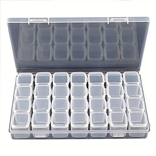 Yaoaomon Nail Drill Box Kunststoff Leere Box Deckel Aufbewahrungsbox 28 Boxen transparent weiß -