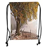 Custom Printed Drawstring Backpacks Bags,Leaves,Birches of A Big Tree in The First Fall of Snow December Country Blizzard Frozen Nature,Multi Soft Satin,5 Liter Capacity,Adjustable String Closure