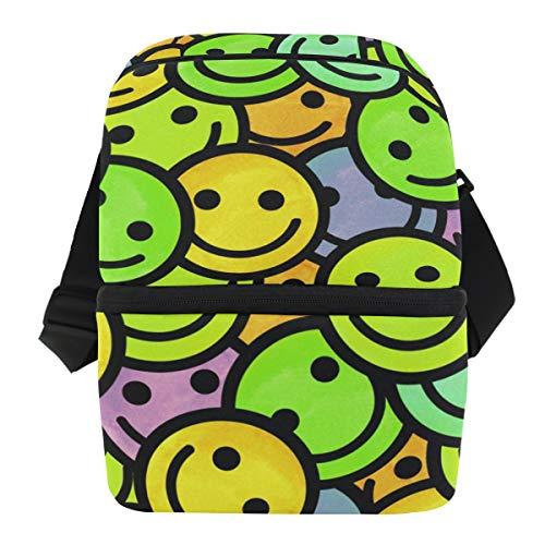 QMIN Business Lunchtasche Emoji Smiley Muster Lunchbox mit Reißverschluss, isoliert, wiederverwendbar, Thermo-Tragetasche mit Schultergurt für Mädchen Jungen Damen Herren