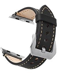 Apple Watch 38mm Correa, ZRO Vendimia Cuero Genuina Reemplazo Correa de Reloj con Seguro Cierre de Metal Hebilla para Apple iWatch Serie 2/ Serie 1, Negro