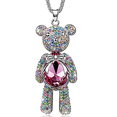 "Pauline & Morgen ""Teddy Bear"" Pink SWAROVSKI ELEMENTS Crystal White Gold Plated Necklace. This adorable bear is a must for every teddy fan! A perfect gift for a girl or a lady with a girl's heart"