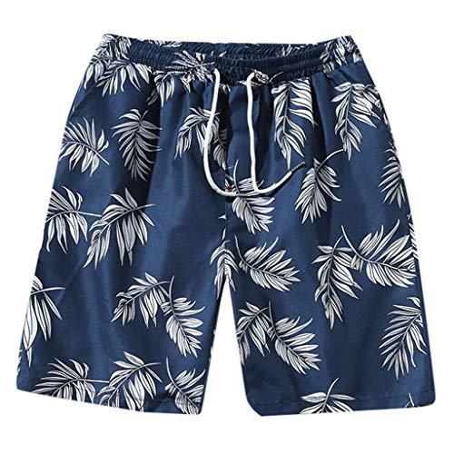 MOTOCO Herren Sommer Casual Shorts Funnky Druck Hosen Übergröße elastische Taille Kordelzug Half Pants Beach Pants(L,Blau) -