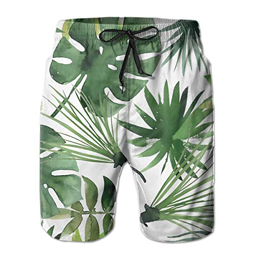 Nacasu Men's Swim Trunks Green Palm Tree Casual Sportswear Quick Dry Beach Shorts for Boys Summer M (Reyn Spooner Xl)