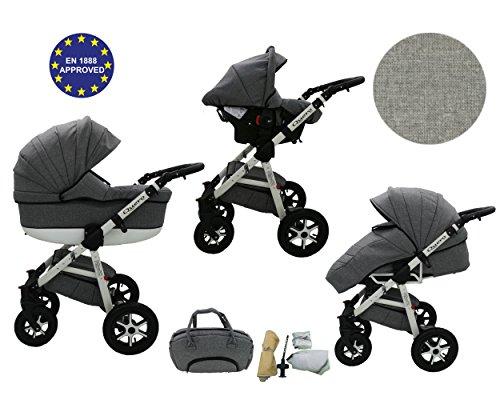 Quero, Edición de lino - Sistema de viaje 3 en 1, silla de paseo, carrito con capazo y silla de...