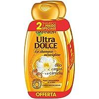 Garnier Ultra Dolce Shampoo Meraviglioso all'Olio d'Argan e di Camelia per Capelli Secchi, senza Parabeni, Estratti Naturali, 300 ml, 3 Confezioni da 2
