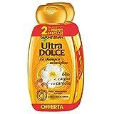 Garnier Ultra Dolce Shampoo Meraviglioso all'Olio d'Argan e di Camelia per Capelli Secchi, Senza Parabeni, Estratti Naturali, 300 ml [Confezione da 2]