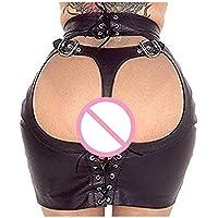 Moon Angle Minirock Porno Erwachsene Geschlechtsprodukte Schwarz Leder Panty Latex Kleid Fetisch PVC Erotische Dessous Sexy Kostüme Frauen