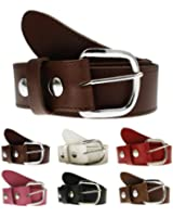 Leather Snap Fit Belt for Detachable Buckles