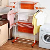 Ankydeal 3 Tier Mild Steel Floor Cloth Dryer Stand - Laundry Drying Rack