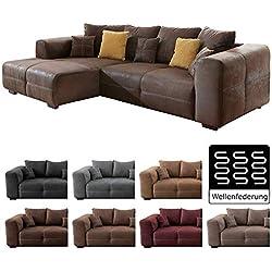 Cavadore Ecksofa Mavericco / Polster Eck-Couch mit Kissen / In Antik-Leder-Optik mit nussbaumfarbenen Holzfüßen / Longchair links / Größe: 285 x 69 x 170 (BxHxT) / Mikrofaser Braun