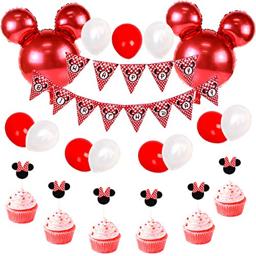 JOYMEMO Minnie Mouse Geburtstag Dekorationen rot und schwarz für Mädchen, Happy Birthday Bunting Banner und Minnie Cupcake Toppers für Baby Shower, Minnie Partydekorationen (Baby Shower Cupcakes Für Mädchen)