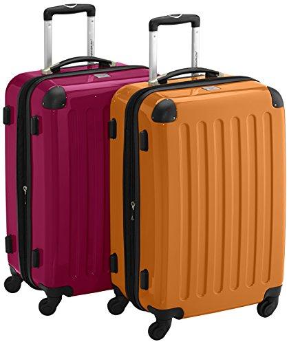 HAUPTSTADTKOFFER - Alex - 2er Koffer-Set Hartschale glänzend, 65 cm, 74 Liter, Magenta-Orange