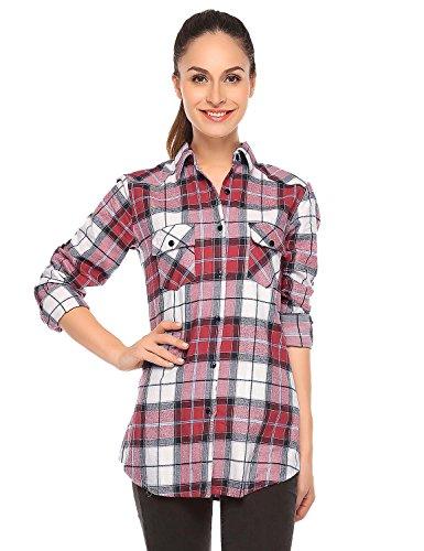 Match Damen Flanell Kariert Shirt #B003(B003 Checks#4,Small(Fit 33''-35'')) -