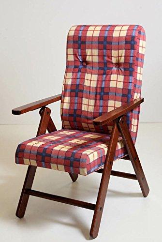 Poltrona sedia sdraio molisana (colore bordeaux) legno regolabile 4 posizioni soggiorno cucina salone ...