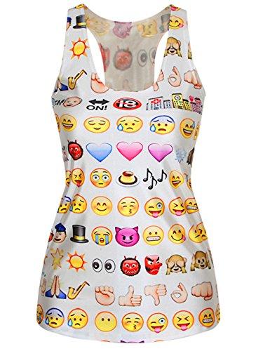 Ninimour Damen Emoji Eindruck ärmellos Rundhalsausschnitt Tank Kleid MDE24