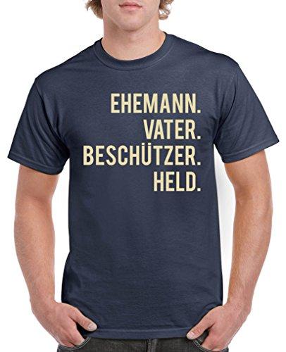 Comedy Shirts - Ehemann. Vater. Beschützer. Held. - Herren T-Shirt - Navy/Beige Gr. M