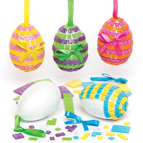 Mosaic Egg Bauble Kits for Children to Design Make and Decorate - Creative Easter Craft Set for Kids (Pack of 4)