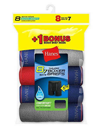 Hanes Boys Cool Comfort 8-Pack Boxer Briefs with Comfort Flex Waistband, L (Pack Boxer Briefs-8)