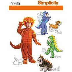 Simplicity 1765.A - Patrón con instrucciones para coser disfraces de dinosaurio para niños y perros (tallas 3-8)