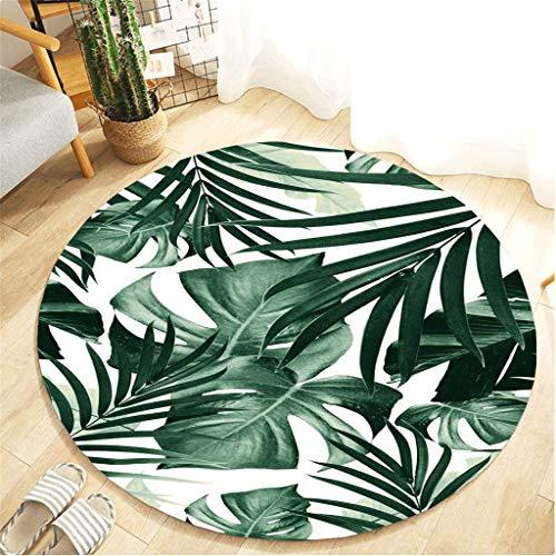 Xmansky Teppich,Grünes Blatt Serie Druck Runde Flanell Küche Anti-Rutsch-Matte Kinderzimmer Teppich Flur Türmatte Rutschfeste Teppich saugfähige Küchenmatte 100 cm Durchmesser