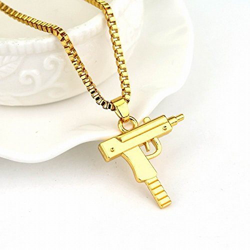 Pinzhi Mode Mädchen Mens Hip-Hop Maschine Gewehr Halskette Kette Pistole Anhänger für Jungen Mädchen (Jungen-maschine)