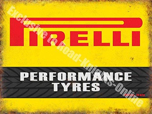 Pirelli Neumáticos Alto Rendimiento Motorsport Automovilismo Vintage Garaje Metal/Cartel Para Pared De Acero - 15 x 20 cm, acero