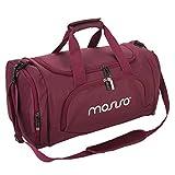 MOSISO Sport Gym Tasche Reisetasche mit Vielen Fächern, Schultergurt, Tragegurt für Fitness, Sport und Reisen Sporttaschen mit Designs, Weinrot