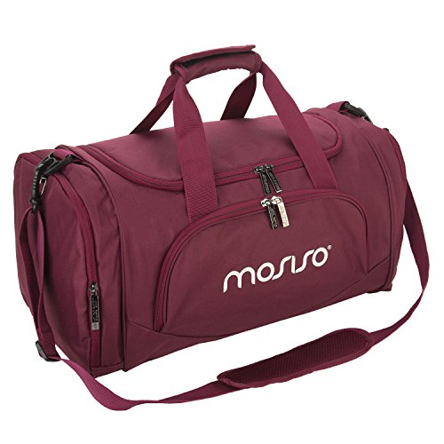 MOSISO Canvas Fabric Foldable Travel Luggage Duffels Shoulder Bag Lightweight for Sports, Gym, Vacation, Wine Red