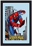 Empire 537614 Spiderman Stadt - Quadro su vetro stampato con cornice in plastica effetto legno - Misura 20 x 30 cm