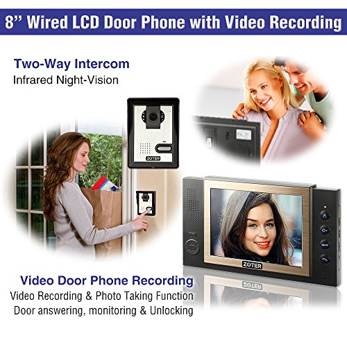 "Generic 8"" inch Color LCD Video Door Phone Doorbell Home Entry Intercom System 3 Monitor 1 Camera with SD Recording Night Vision 801 (Black)"