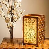 ExclusiveLane Teak Wood Warli Hand-Painted Bedroom Decorative Living Room Table Lamp (Brown)
