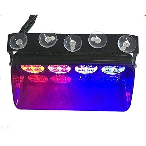 T Tocas 16 LED de alta intensidad LED Cumplimiento de la Ley de las luces de emergencia para el carro del coche SUV interior del techo / Dash / parabrisas con ventosas, DC12V, 16 modos que destellan (rojo y azul)