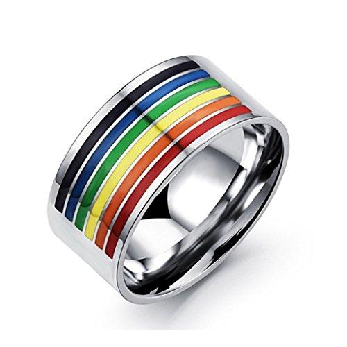 Bishilin 316L Edelstahlring 10MM Regenbogen Hochzeitsring Freundschaftsringe für Unisex Lesbian LGBT Gay Lara Größe 62 (19.7)