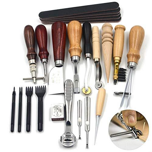 18 StüCke Punch Kit Carving Punch Sattel Carving Arbeit NäHen Sattel Groover Professionelle Multifunktionale Hochwertige Lederhandwerk Diy Werkzeug -