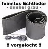 Lenkradbezug dunkel grau echt Leder 37-39 cm zum Schnüren Lenkrad
