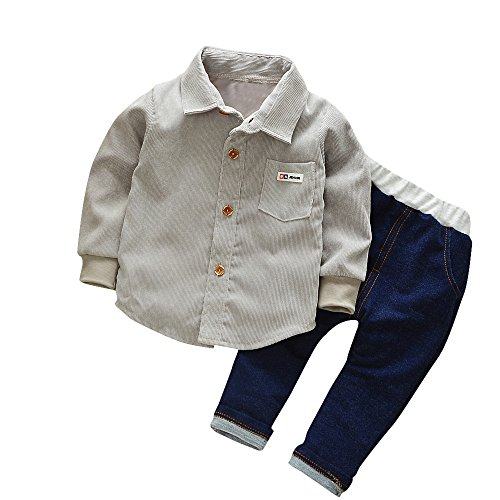 Kinder Jungen Mädchen Winter Pullover Cord Corduroy Langarm Hemden Sweatshirt T-Shirt Top + Jeans Lange Hosen Yanhoo Unisex Baby 2 Stück Bekleidungsset