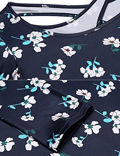Damen Casual Kleid mit Blumendruck Weit Rundhals 3/4-Arm Freizeitkleid A-Linie Partykleid Kurz PAT3