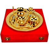 IndianCraftVilla Handmade Decorative Gold Plated Pooja Thali Aarti Thali Set Of 7 Pieces With Gift Box Packing For Use Worship Festivals Occasion Home Decore Wedding Aniversary Diwali Gift Item