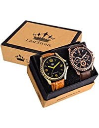 LimeStone Multi-color Strap & Black Dial Men's Analog Watch (Combo Pack Of 2)