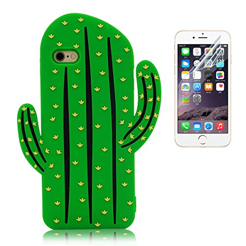iPhone 6 Plus Custodia Silicone , iPhone 6S Plus Cover , Bonice Morbido TPU Rubber Silicone Cartoon Cactus Case + 1x Protezione Dello Schermo Screen Protector