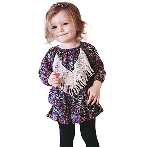 Baby Kleid, Bekleidung Longra Kinder Baby Mädchen Blumenkleid Langarm Blusen Prinzessin-Kleid(0-4Jahre) (110CM 4Jahre, Multicolor)