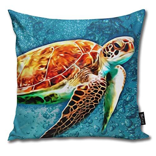 QMS CONTRACTING LIMITED Baumwolle Kissenbezug, Dekorative Atmungsaktiv Kissenbezüge Dekokissen deckt Für Home Auto Bett Sofa Büro Dekor(18 x 18) - SEA Turtle Swimming -