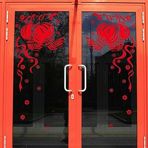 Saluto Il Festival Di Primavera Dei Poster Shop Vetrofania Porta In Vetro Finestra Nastro Trattamenti Lanterne Rosse Zeng Qinghong ,1,80*71Cm Shop