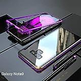 Samsung Galaxy Note 9 Hülle, [Neuste Design] [Magnetische Adsorption Technologie] [Metallrahmen] Ultra Dünn Glas-Telefon-Kasten Schutzhülle Anti-Kratzer Handyhülle für Samsung Galaxy Note 9 - Lila